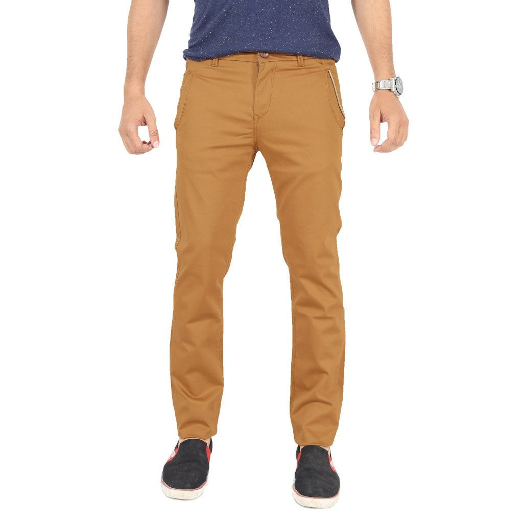 Uber Golden Brown Cotton Twill Elastene Trouser front view
