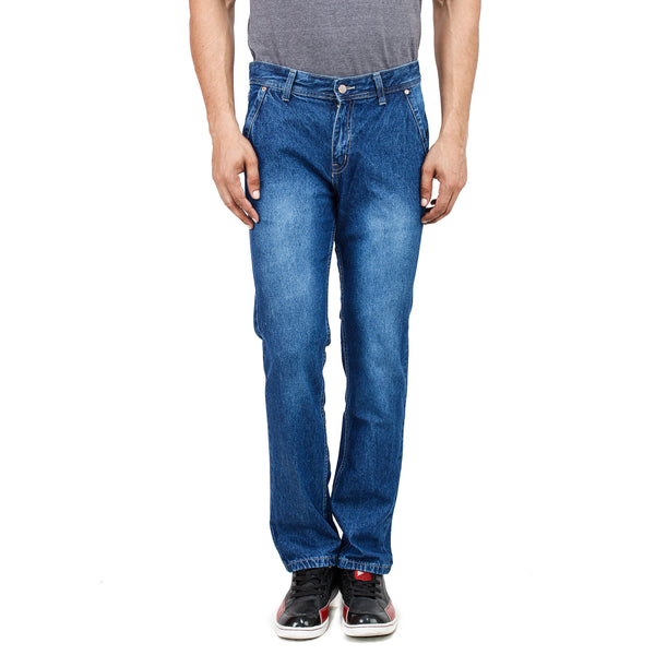 Regular Fit Cross Pocket Blue Denim Jeans - Cool