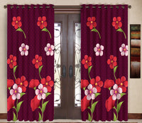 Pack of 2 Maroon Door Curtains with Metal Rings