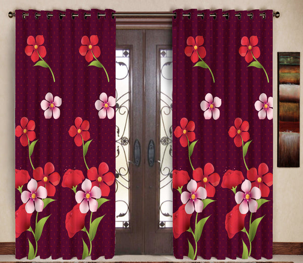 Pack of 2 Maroon Door Curtains with Metal Rings - uber-urban