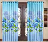 Pack of 2 Blue Door Curtains with Metal Rings