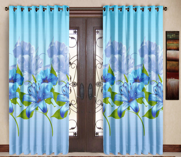 Pack of 2 Blue Door Curtains with Metal Rings - uber-urban