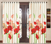 Pack of 2 Red Door Curtains with Metal Rings - uber-urban