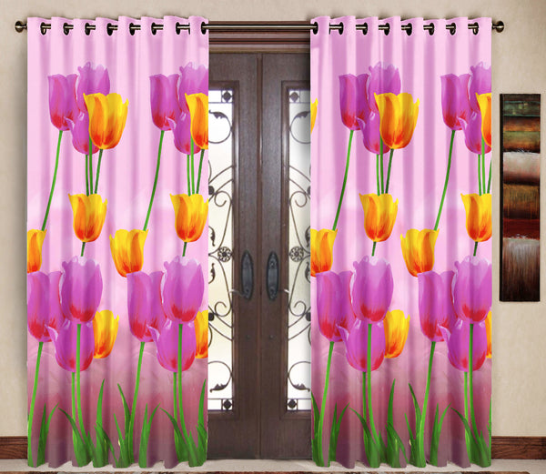 Pack of 2 Pink Door Curtains with Metal Rings