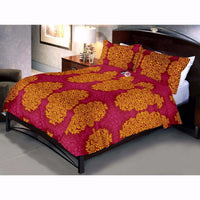 Crimson Yellow Bed Sheet And Pillow Cover (Queen)
