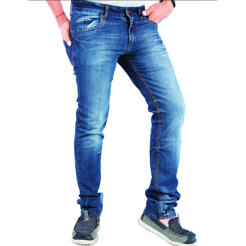 Blue Shade Cotton Elastene Red Thread Denim side view