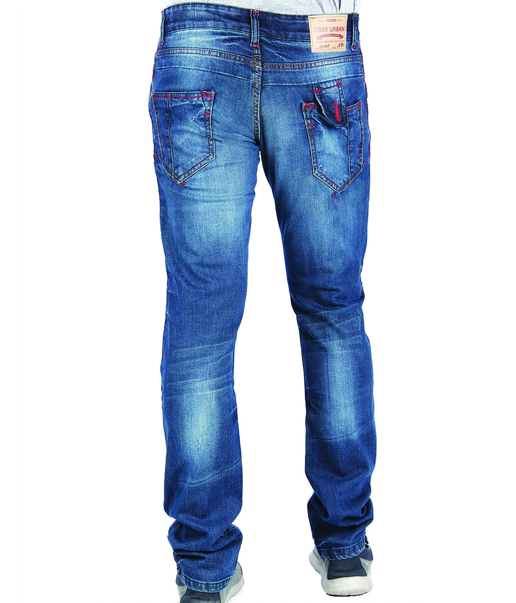 Blue Shade Cotton Elastene Red Thread Denim back view