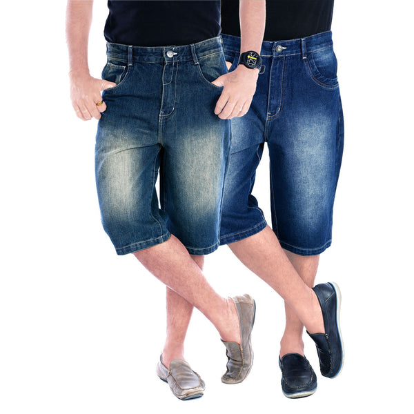 Black - Blue Duo Haiper Denim Shorts front view