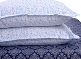 400 Thread Count Printed Navy Bedsheet with 4 Pillow Covers