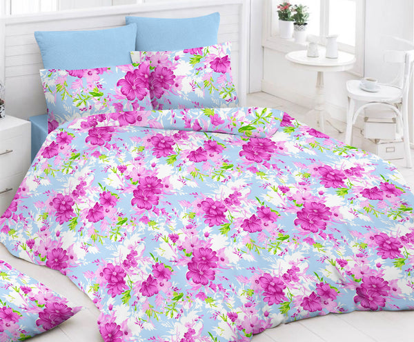 Light Blue Bed Sheet And Pillow Covers (Queen)