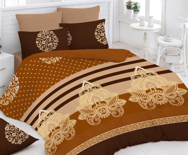 Brown Bed Sheet And Pillow Covers (Queen)