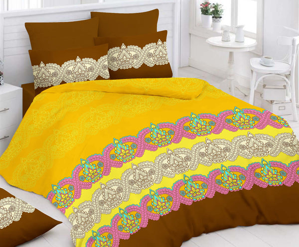Yellow Bed Sheet And Pillow Covers (Queen)
