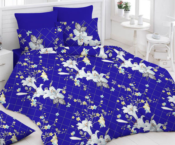 Deep Blue Bed Sheet And Pillow Covers (Queen) - uber-urban
