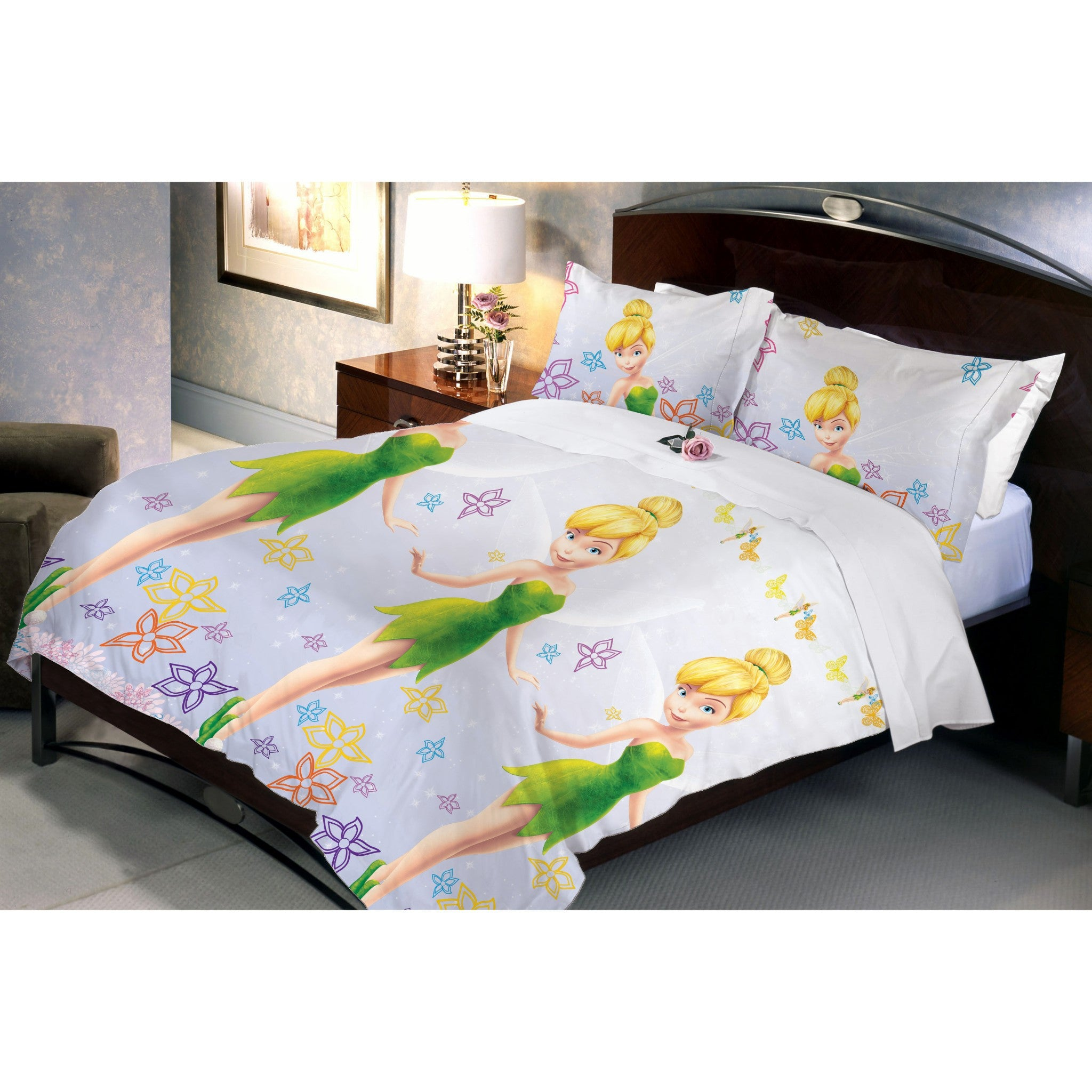 Disney Fairies Tinker Bell Bed Sheet And Pillow Covers & Queen Size - Über Urban Disney