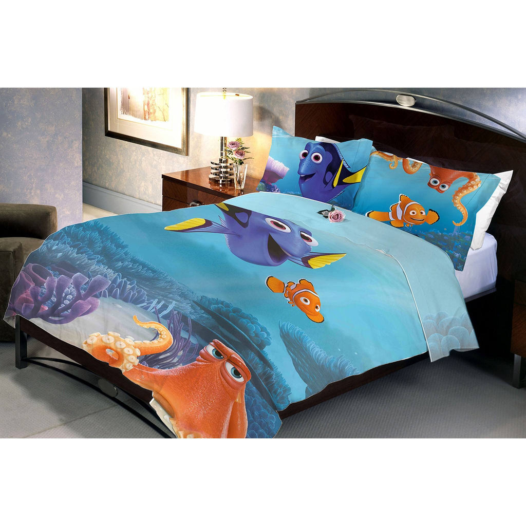 Finding Dory Double Bed Sheet And Pillow Covers - Über Urban Bedsheet
