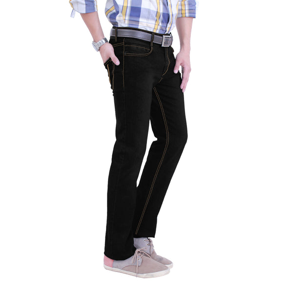 Regular Fit Black Stretch Denim Jeans - Flym