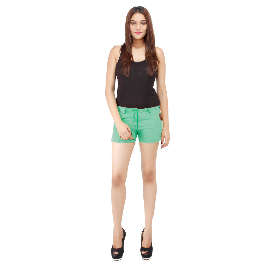 Pale Green Frida Shorts - Über Urban Shorts