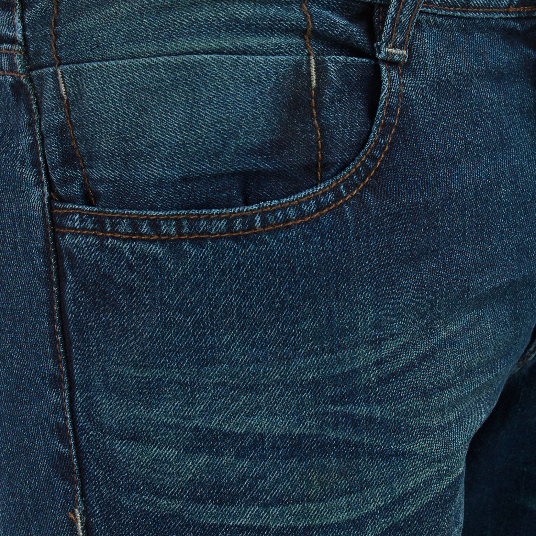 Gray Blue Fury Denim close up view of front pocket