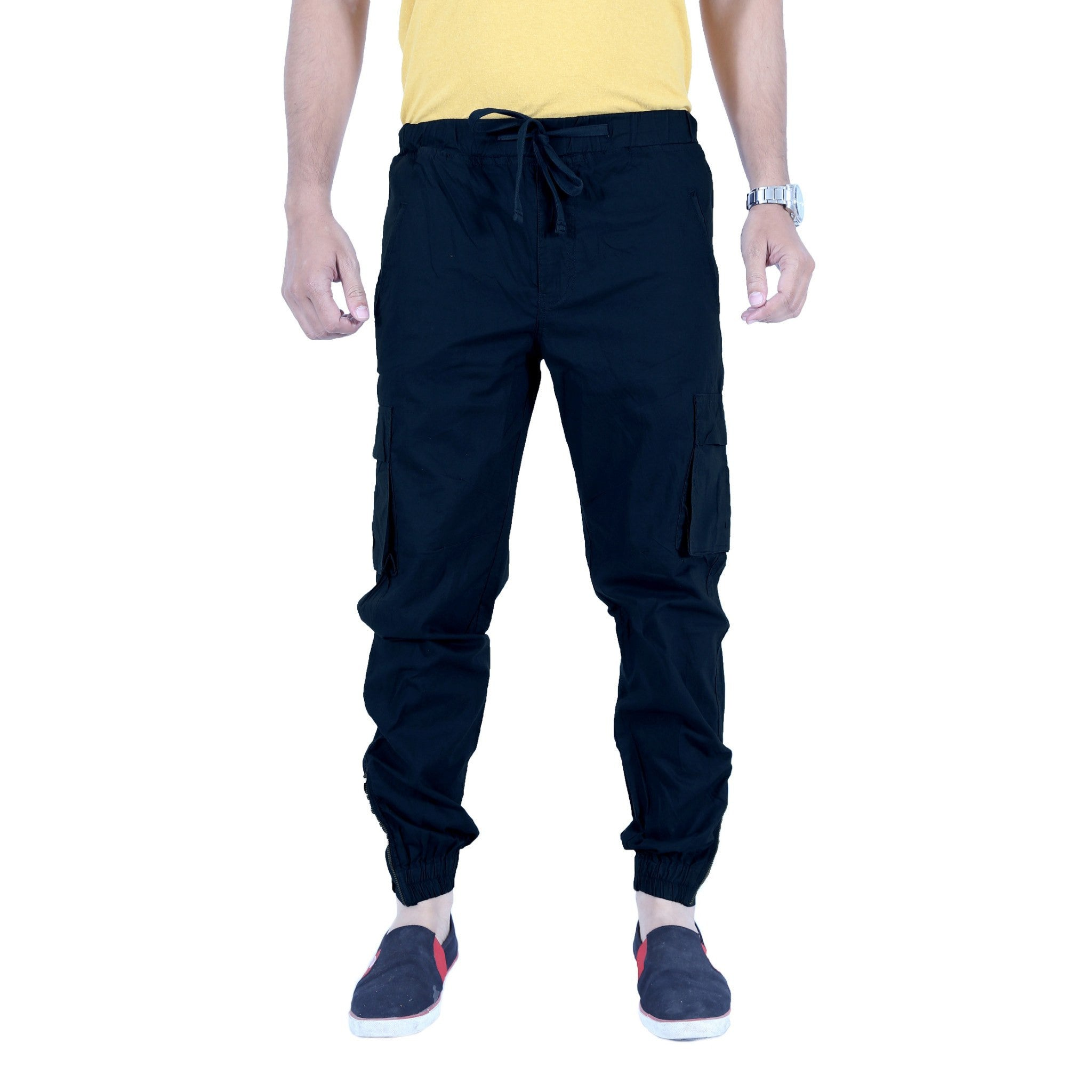 Uber Blacklue Cotton Trouser front view