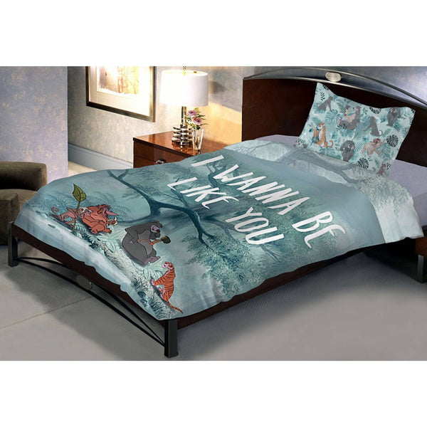 Disney Jungle Book Mowgli Cartoon Single Bedsheet With 1 Pillow Cover