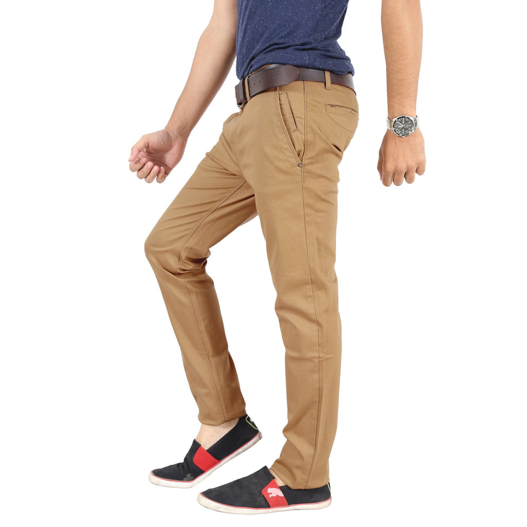 Burlywood Elastene Trouser left side view