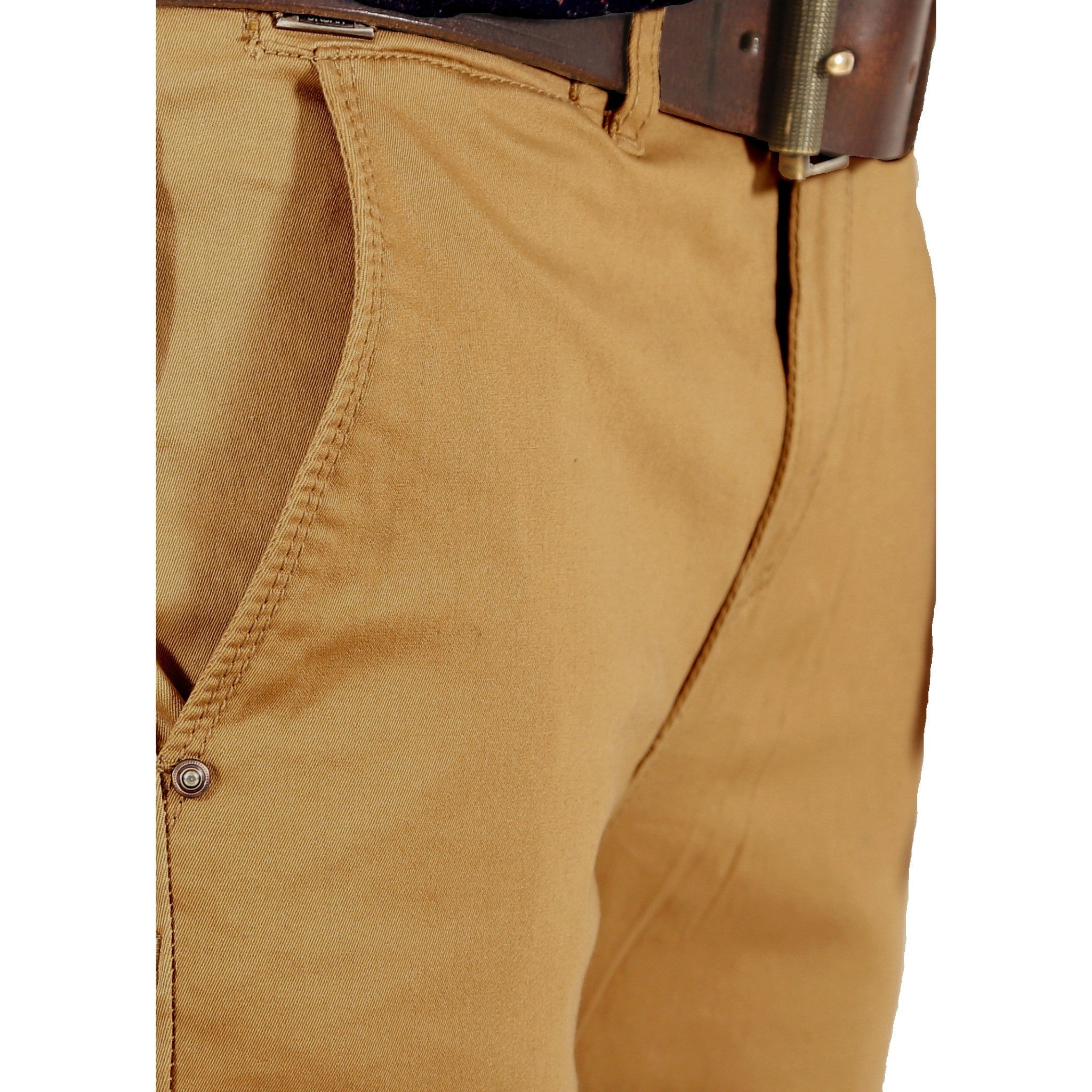 Burlywood Elastene Trouser close up view