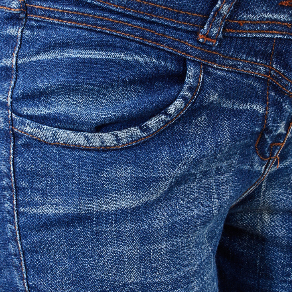 Uber Blue Denim Jeans close up view