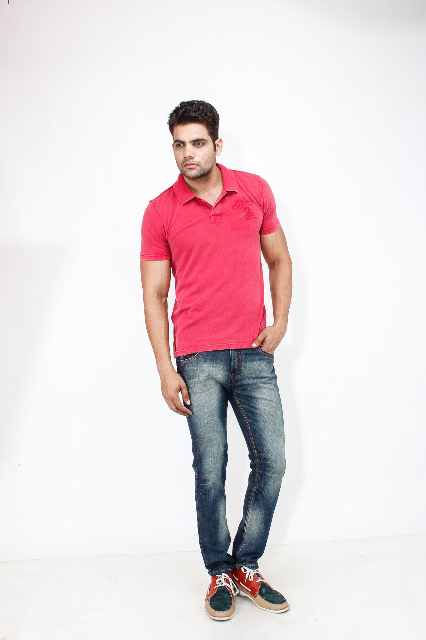 Dimgray Shade Cotton Elastene Red Thread Denim full view