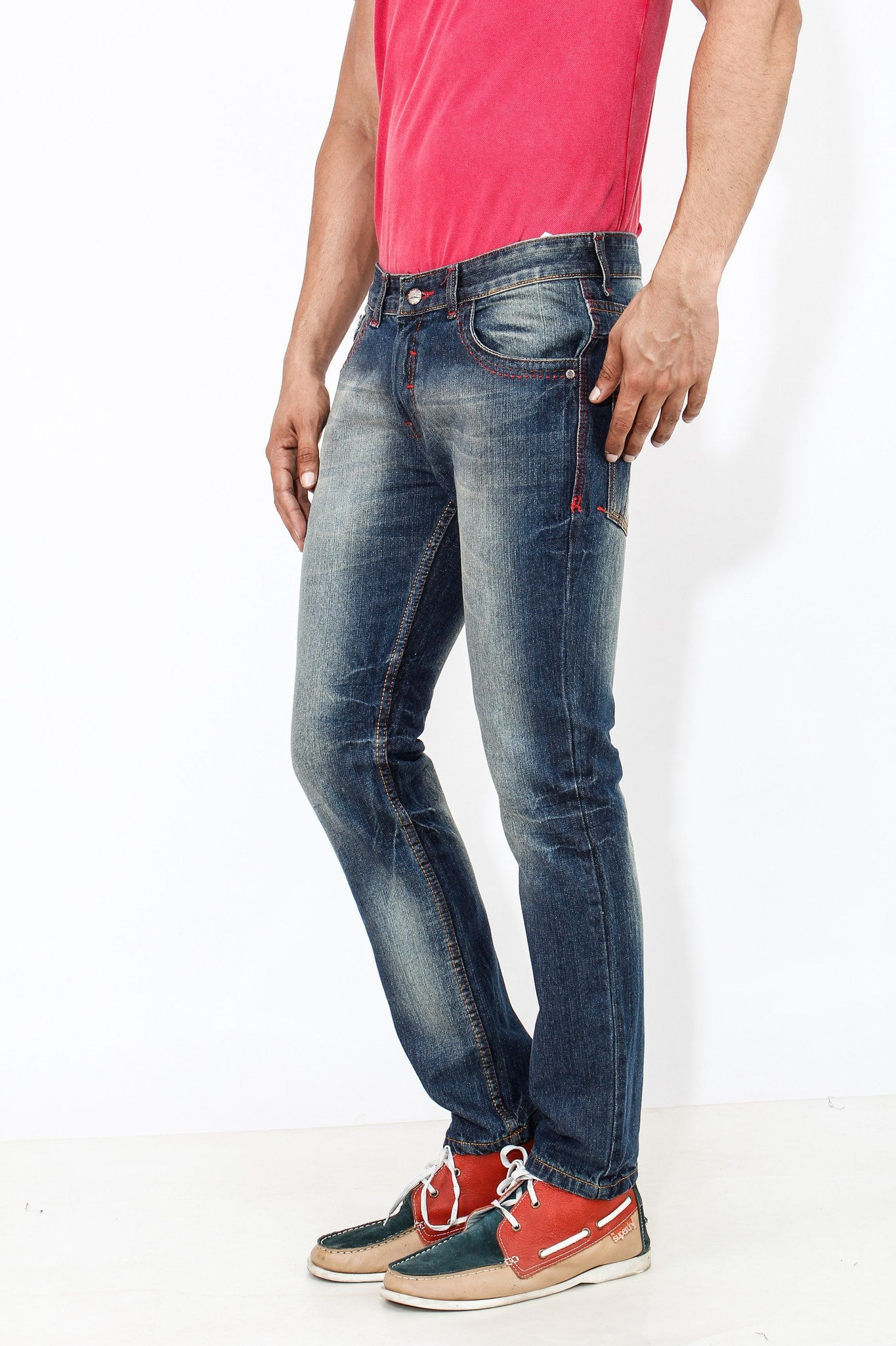 Dimgray Shade Cotton Elastene Red Thread Denim left side view