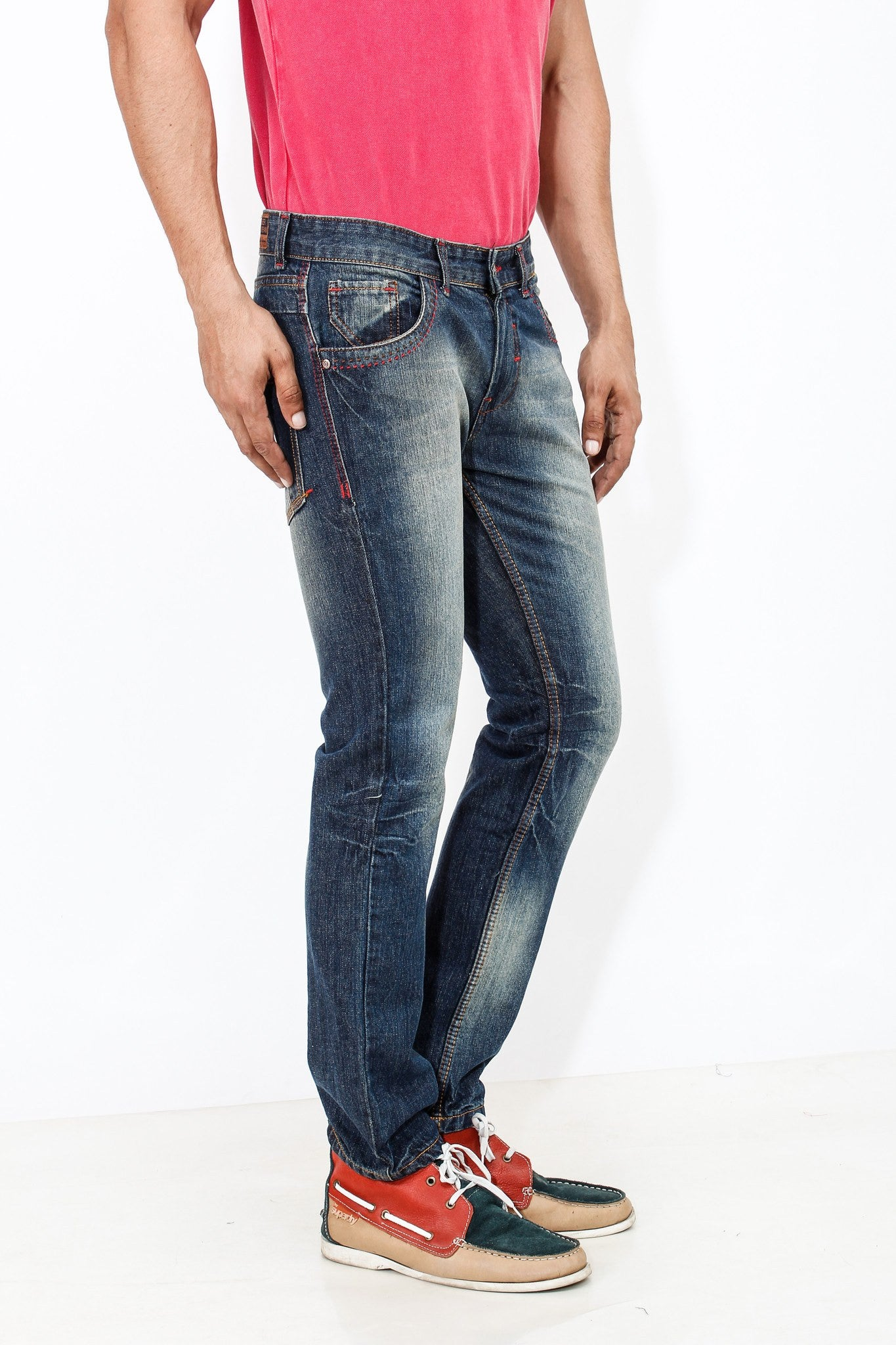 Dimgray Shade Cotton Elastene Red Thread Denim right side view