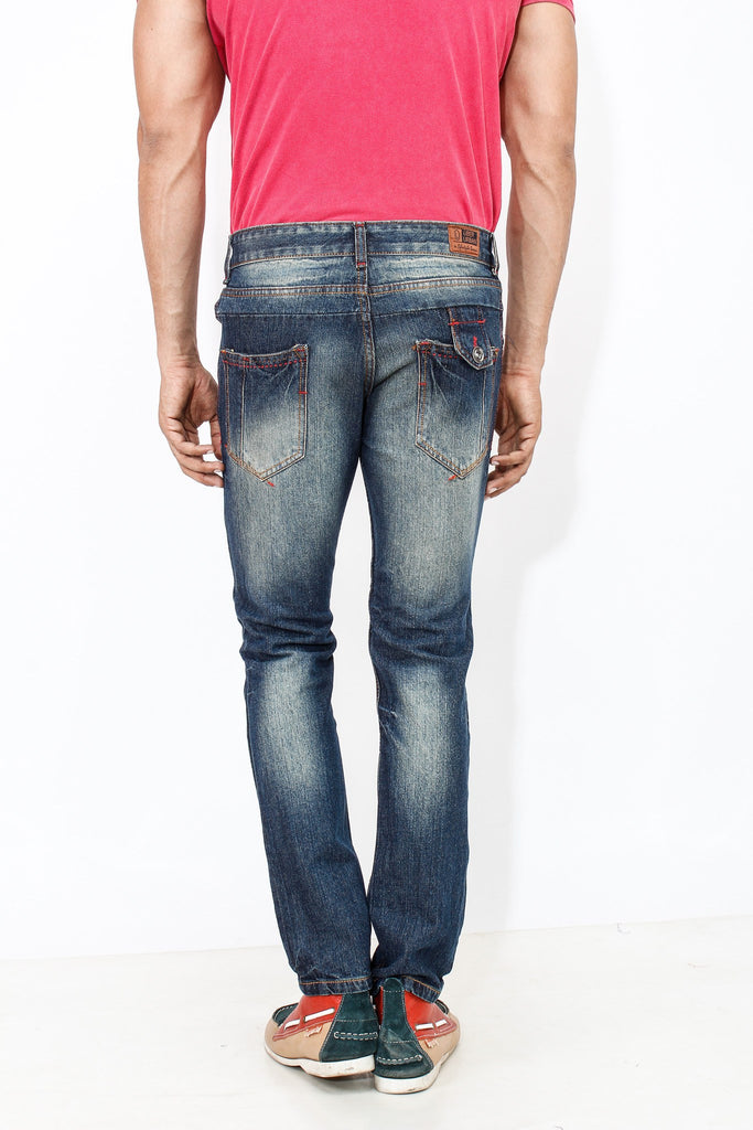 Dimgray Shade Cotton Elastene Red Thread Denim back view