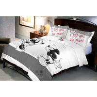 Disney Mickey Minnie Monotone Double Bedsheet With 2 Pillow Covers - uber-urban