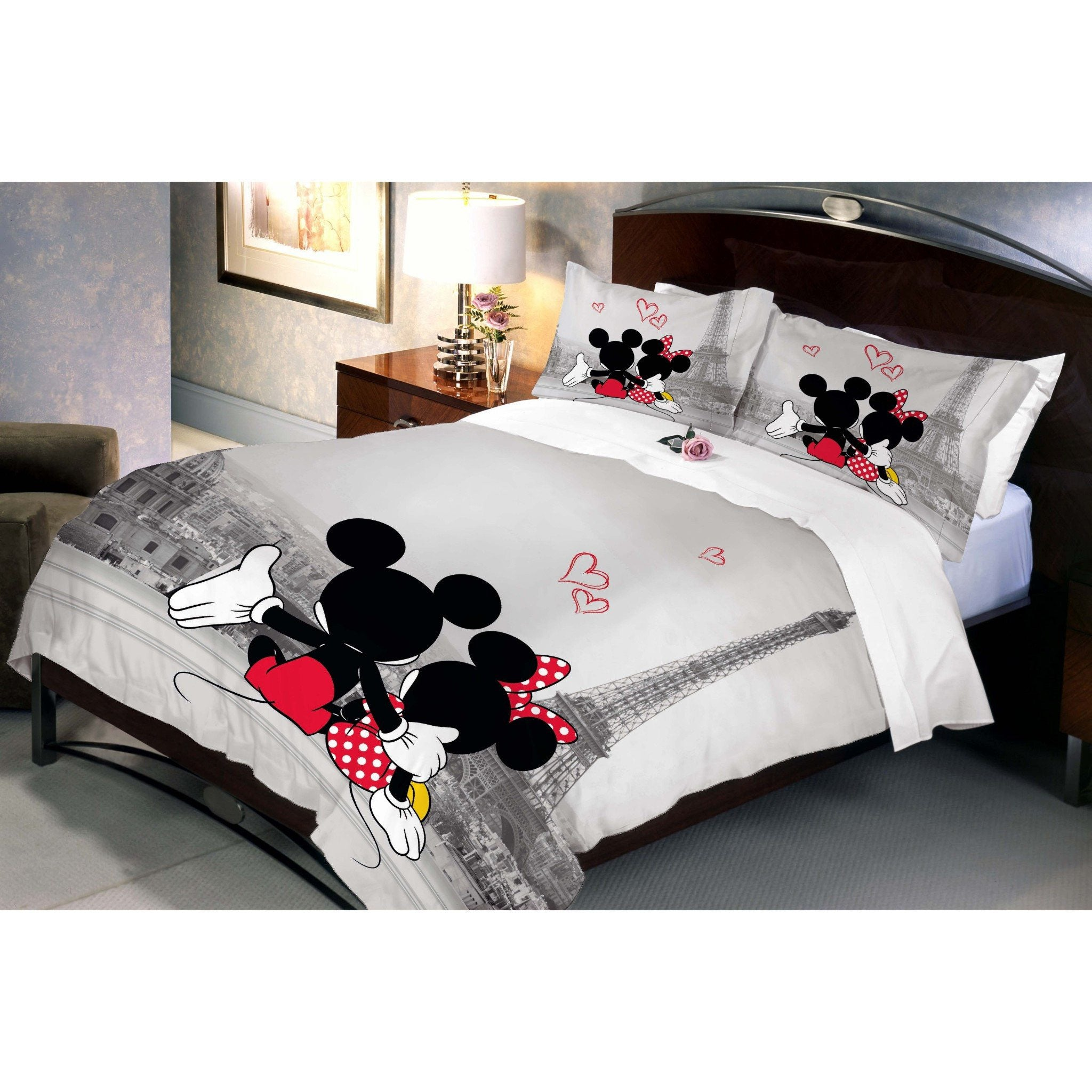 Disney Mickey Minnie In Paris Double Bed Sheet With 2 Pillow Covers - Über Urban Bedsheet