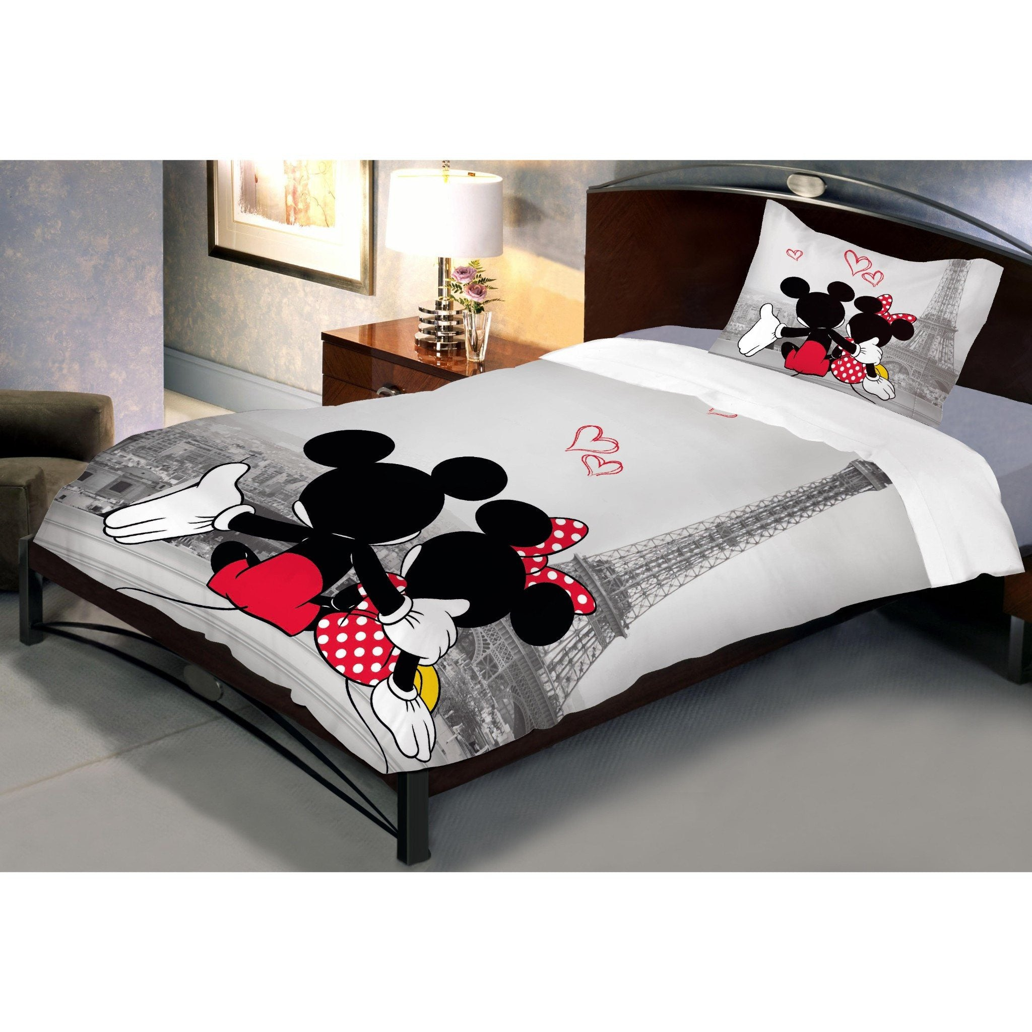 Disney Mickey Minnie in Paris Single Bedsheet With 1 Pillow Cover - Über Urban Bedsheet