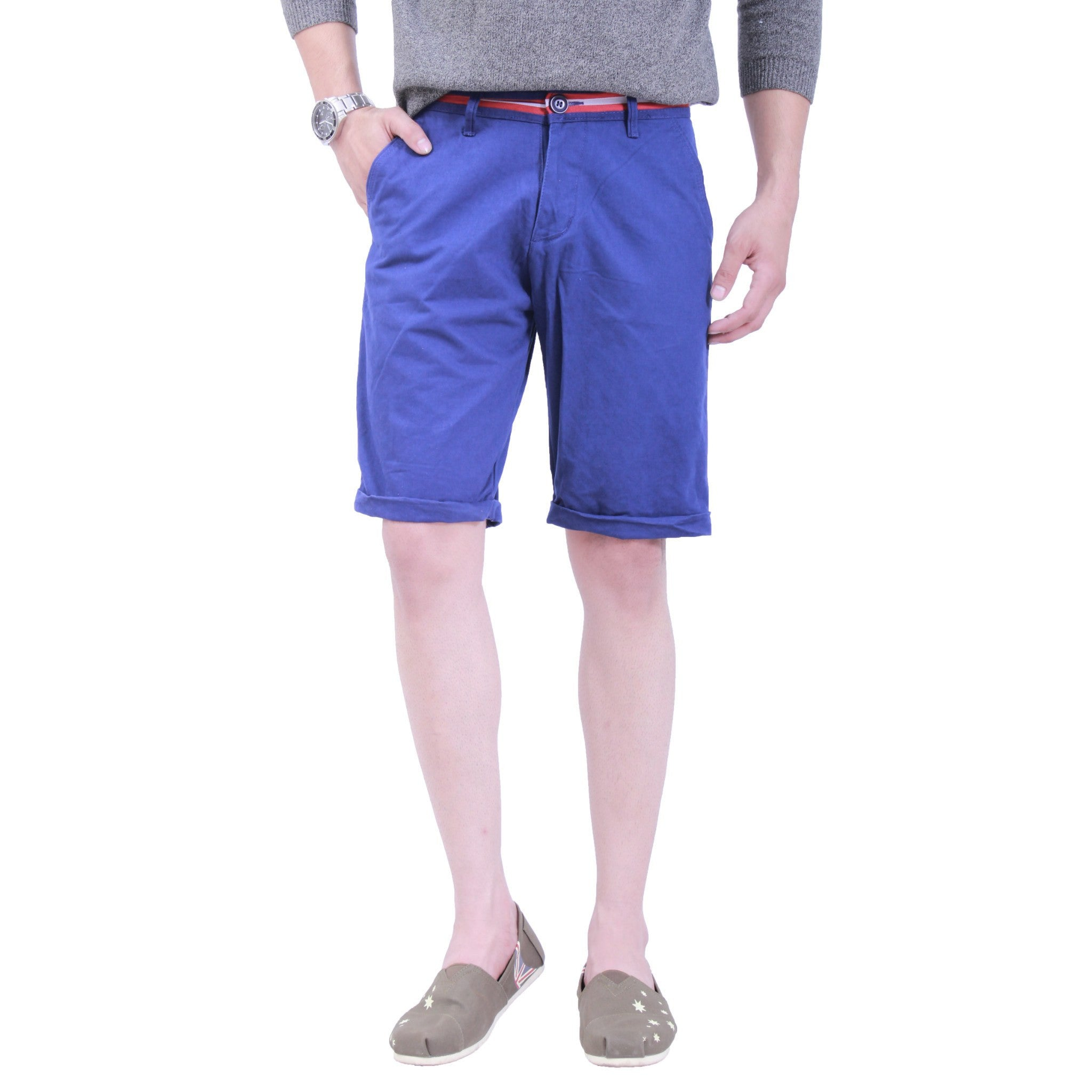 Cornflower Blue Tap Shorts front view