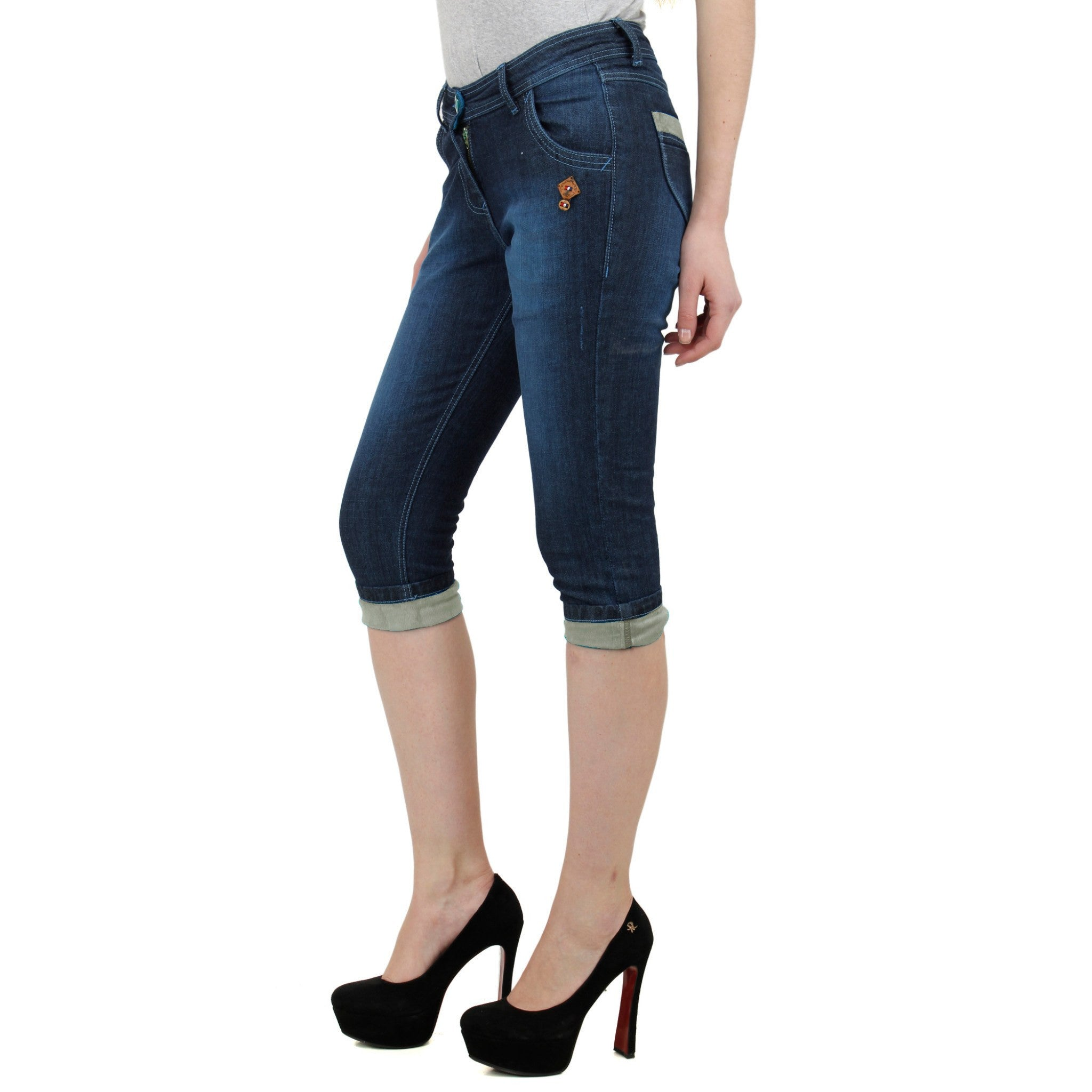 Midnight Blue Denim Capri left side view