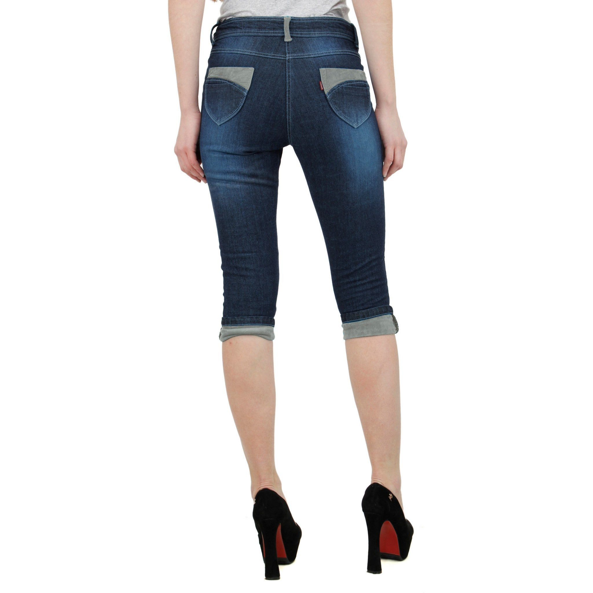 Midnight Blue Denim Capri back view
