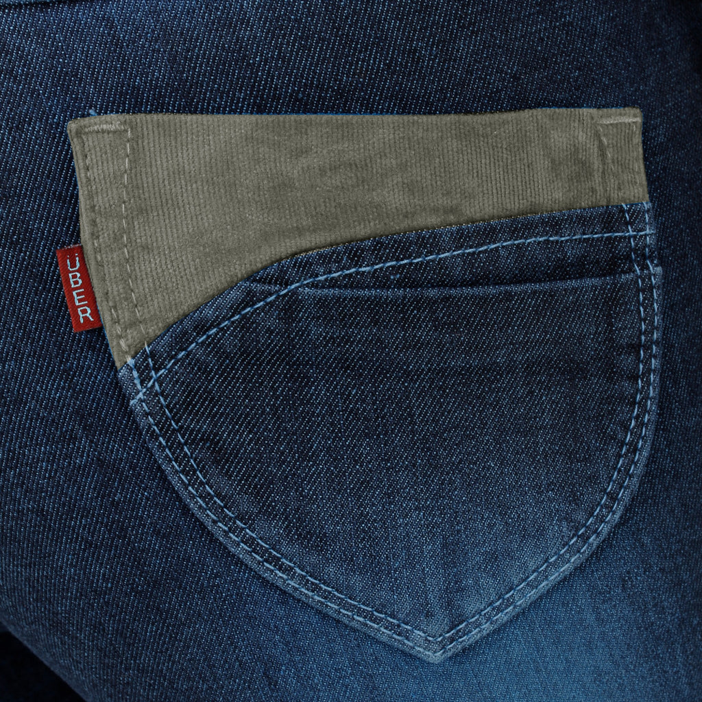 Midnight Blue Denim Capri back pocket