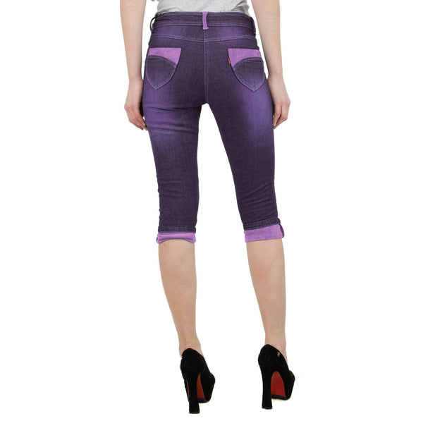 Purple Neo Denim Capri
