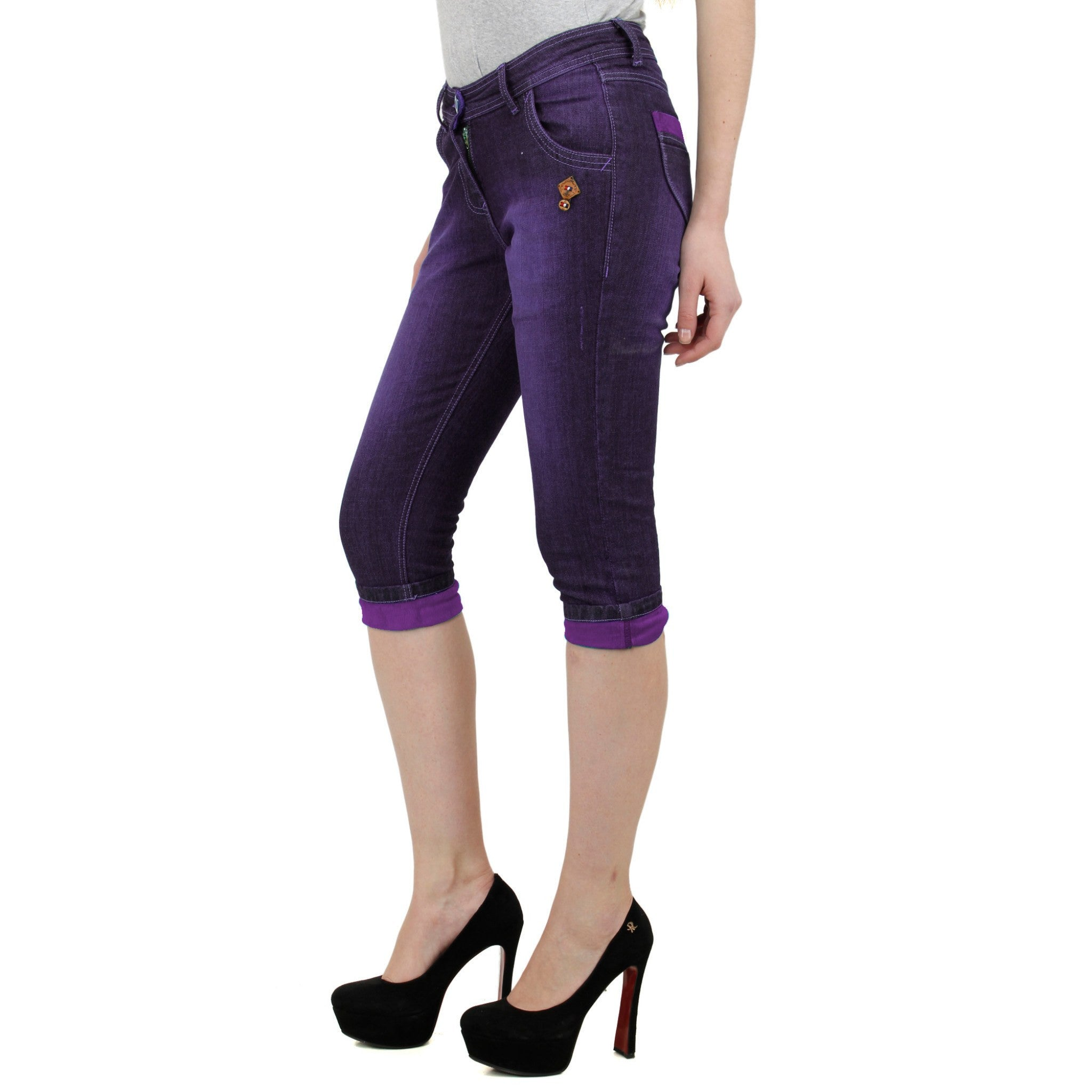 Magenta Denim Capri left side view