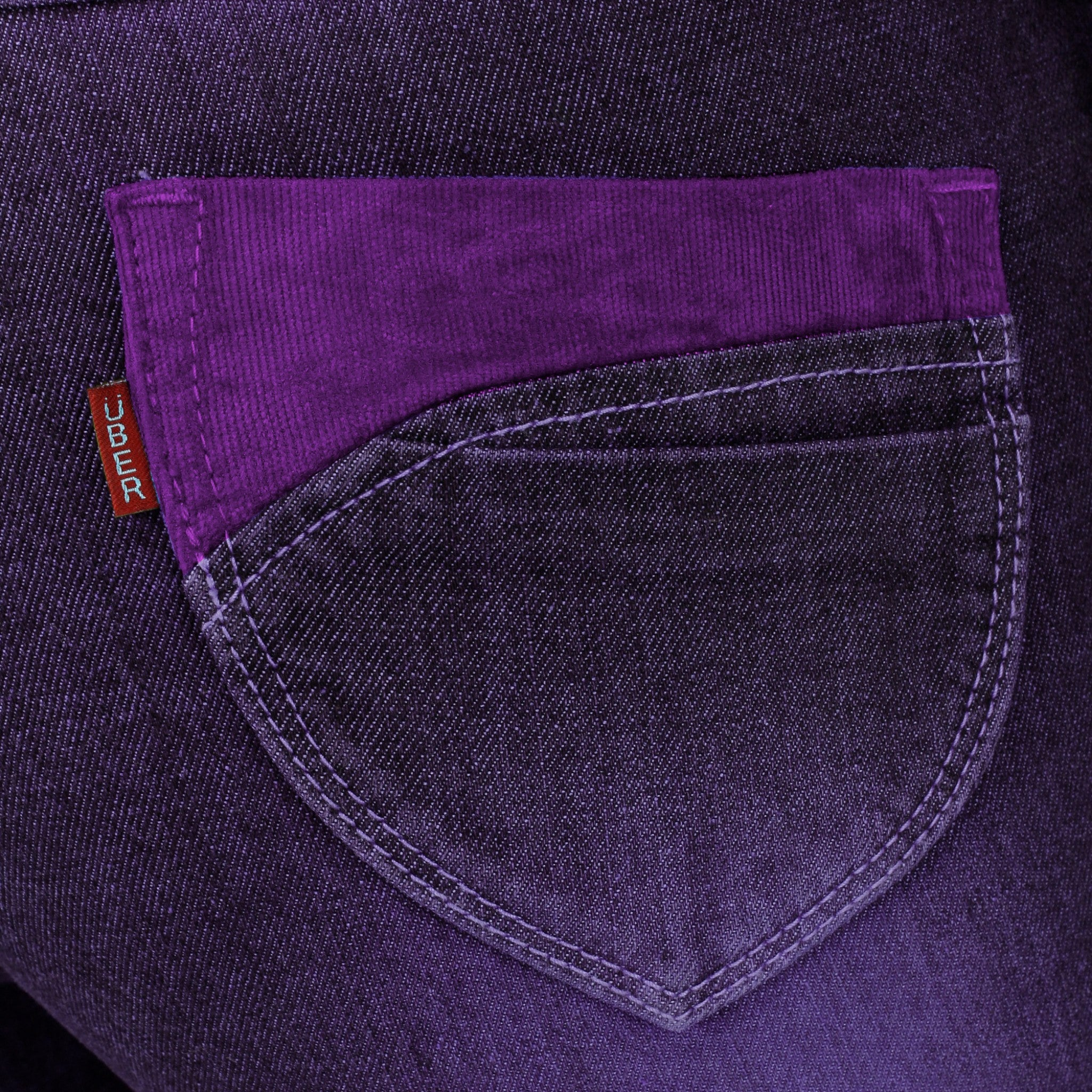 Magenta Denim Capri close up view of pocket