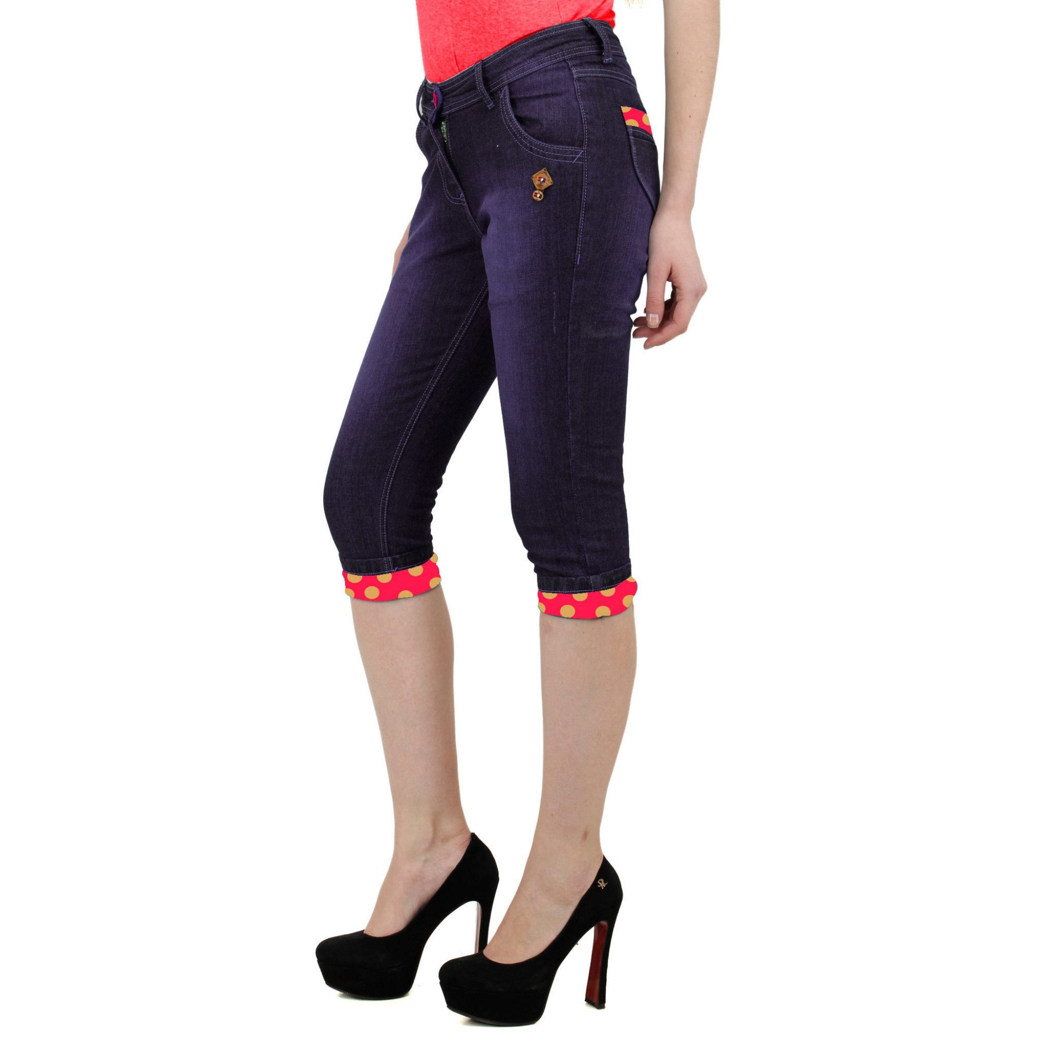 Dark Magenta Denim Capri left side view