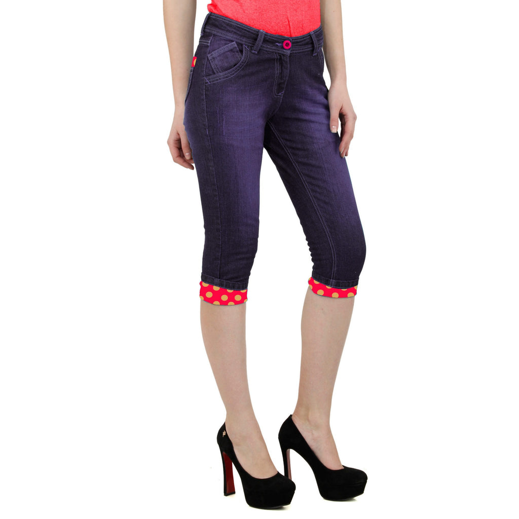 Dark Magenta Denim Capri right side view