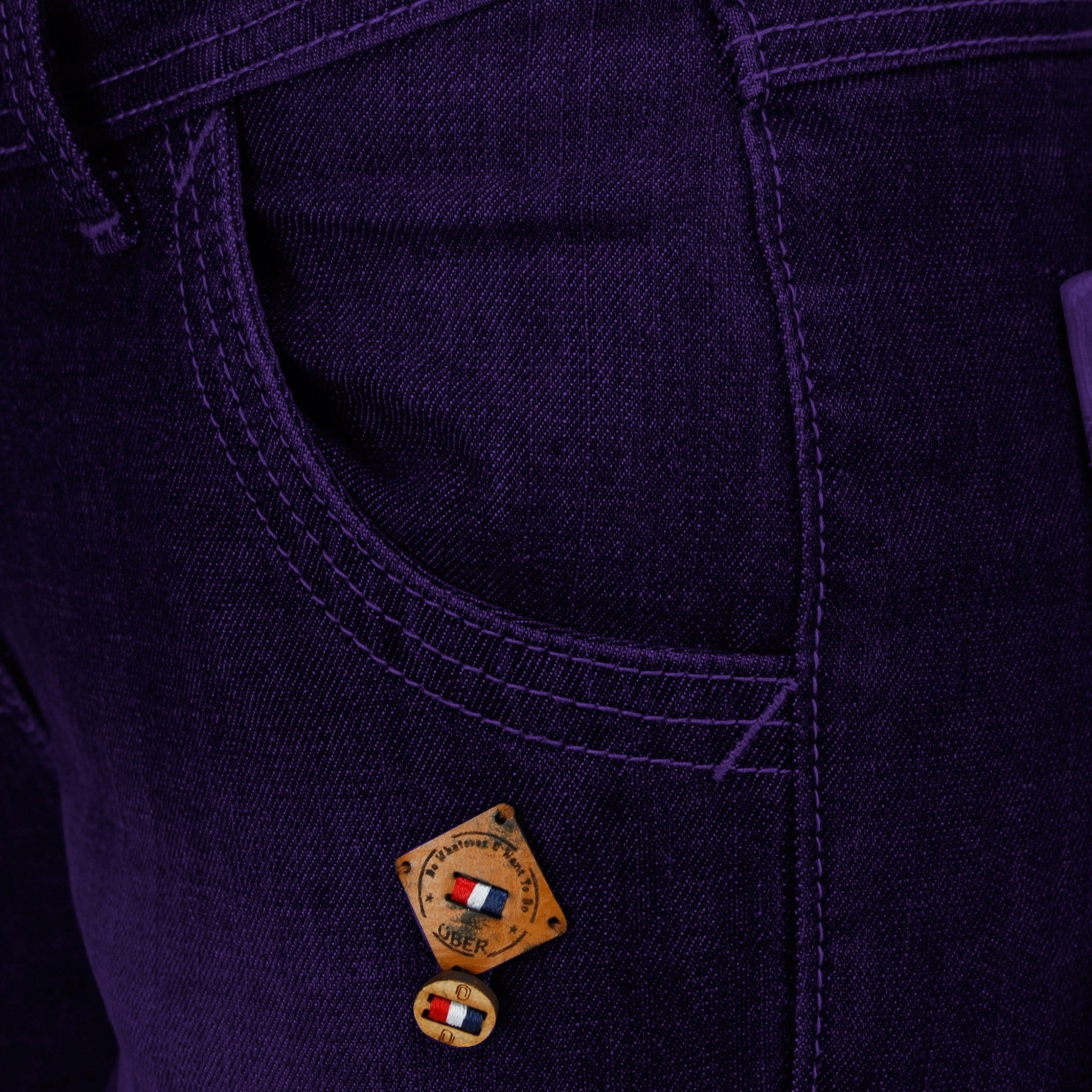 Dark Magenta Denim Capri close up of front pocket