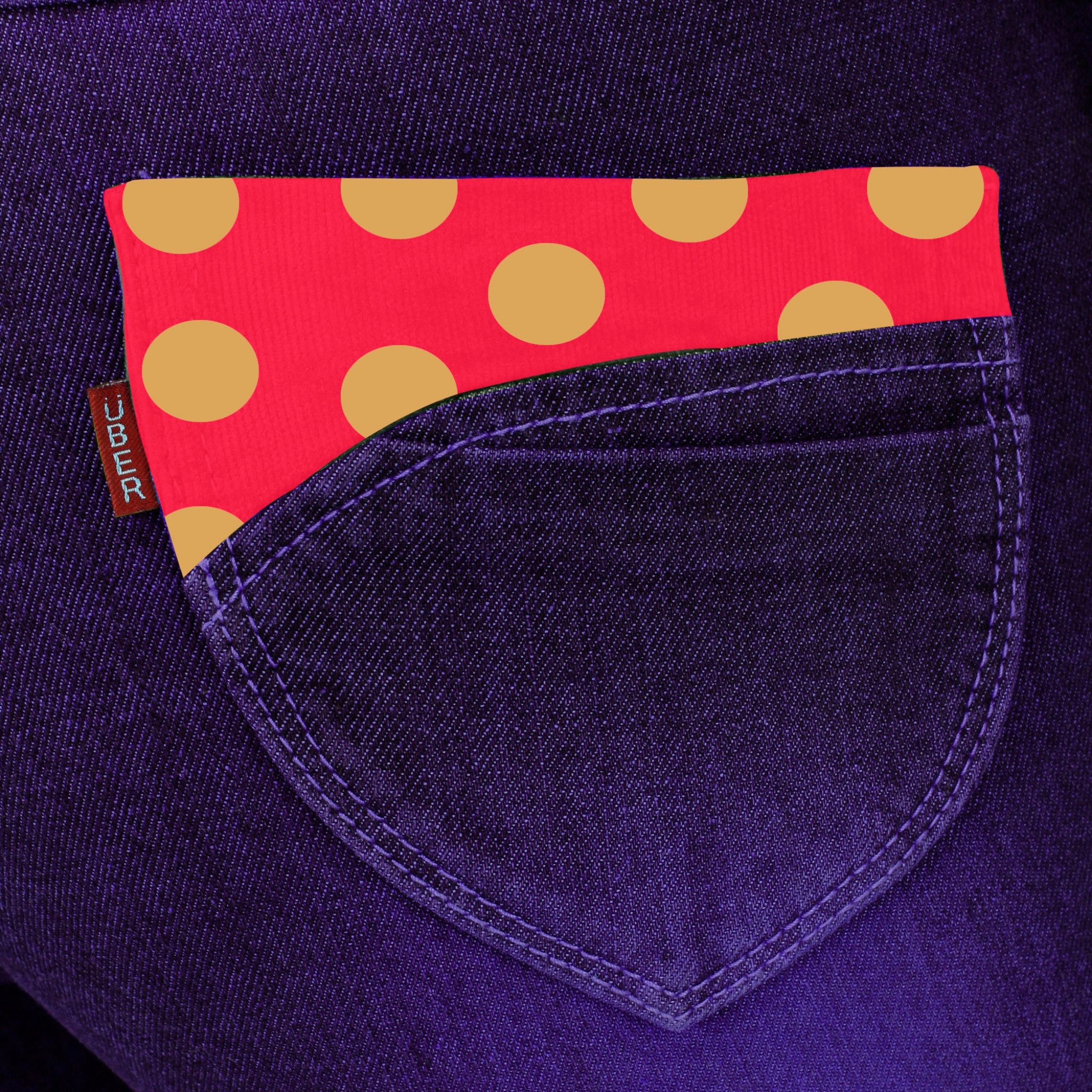 Dark Magenta Denim Capri close up of back pocket