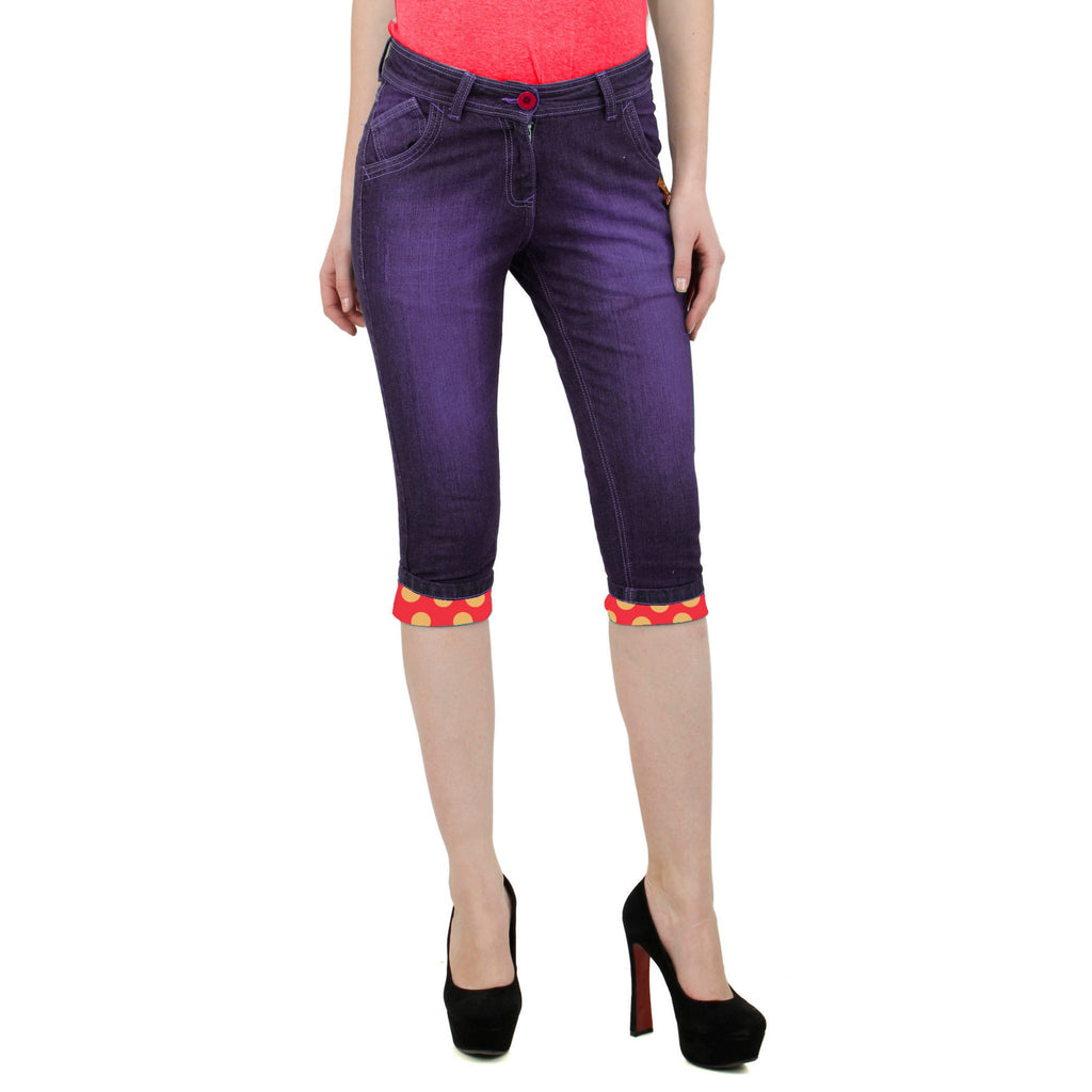 Dark Magenta Denim Capri front view