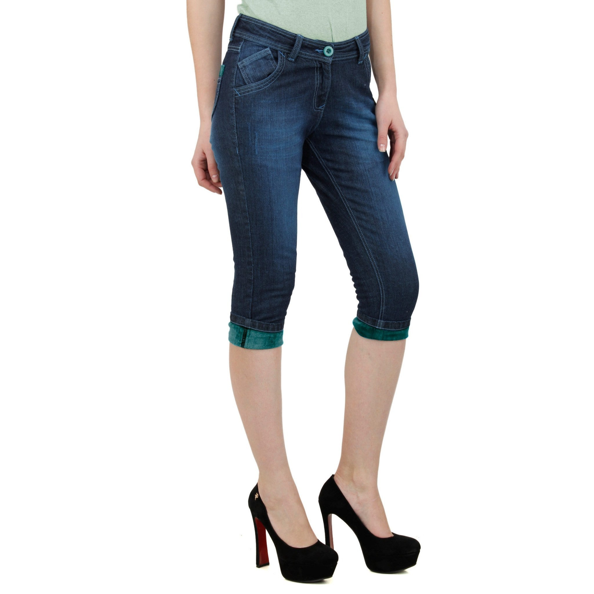 Midnight Blue Denim Capri right side view