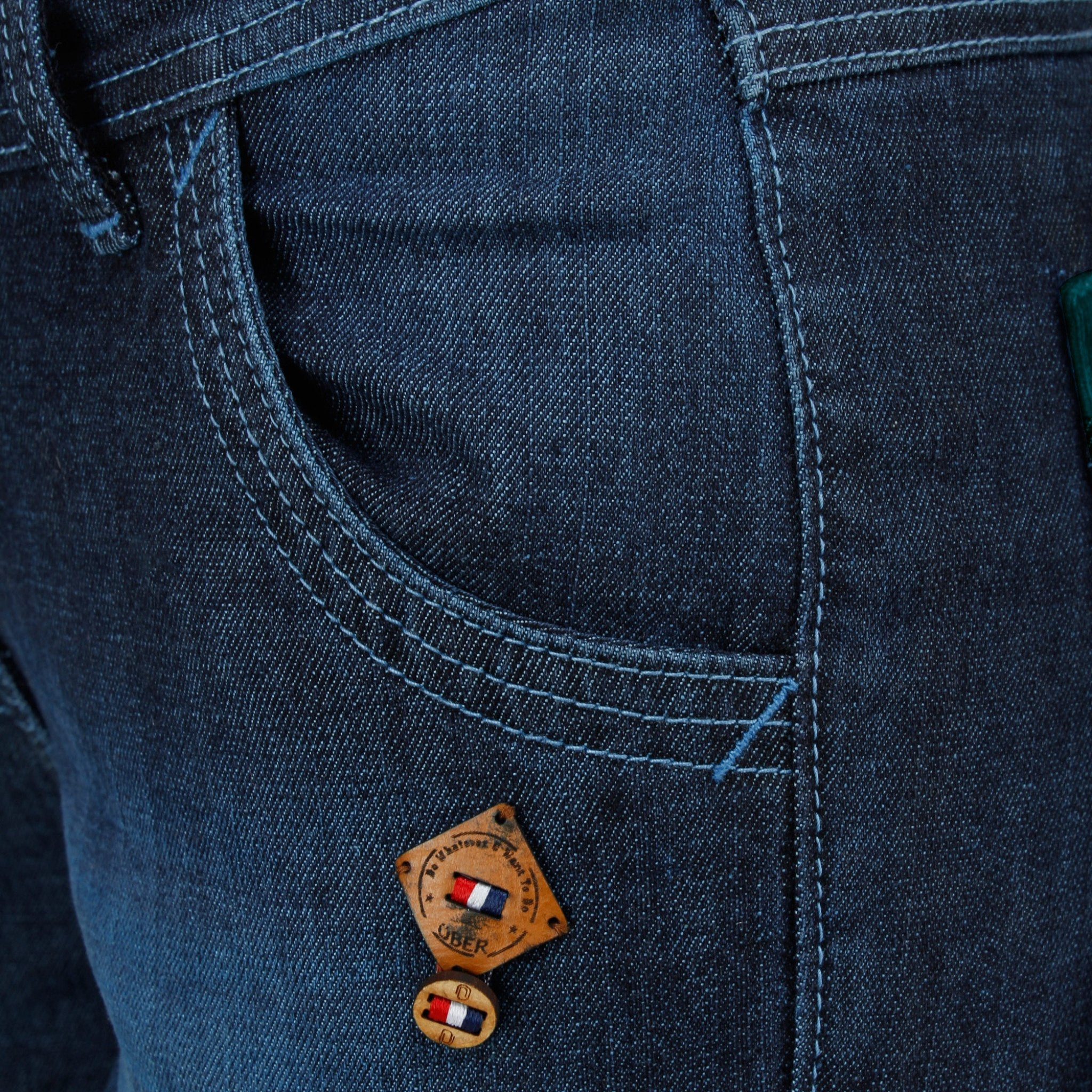 Midnight Blue Denim Capri front pocket