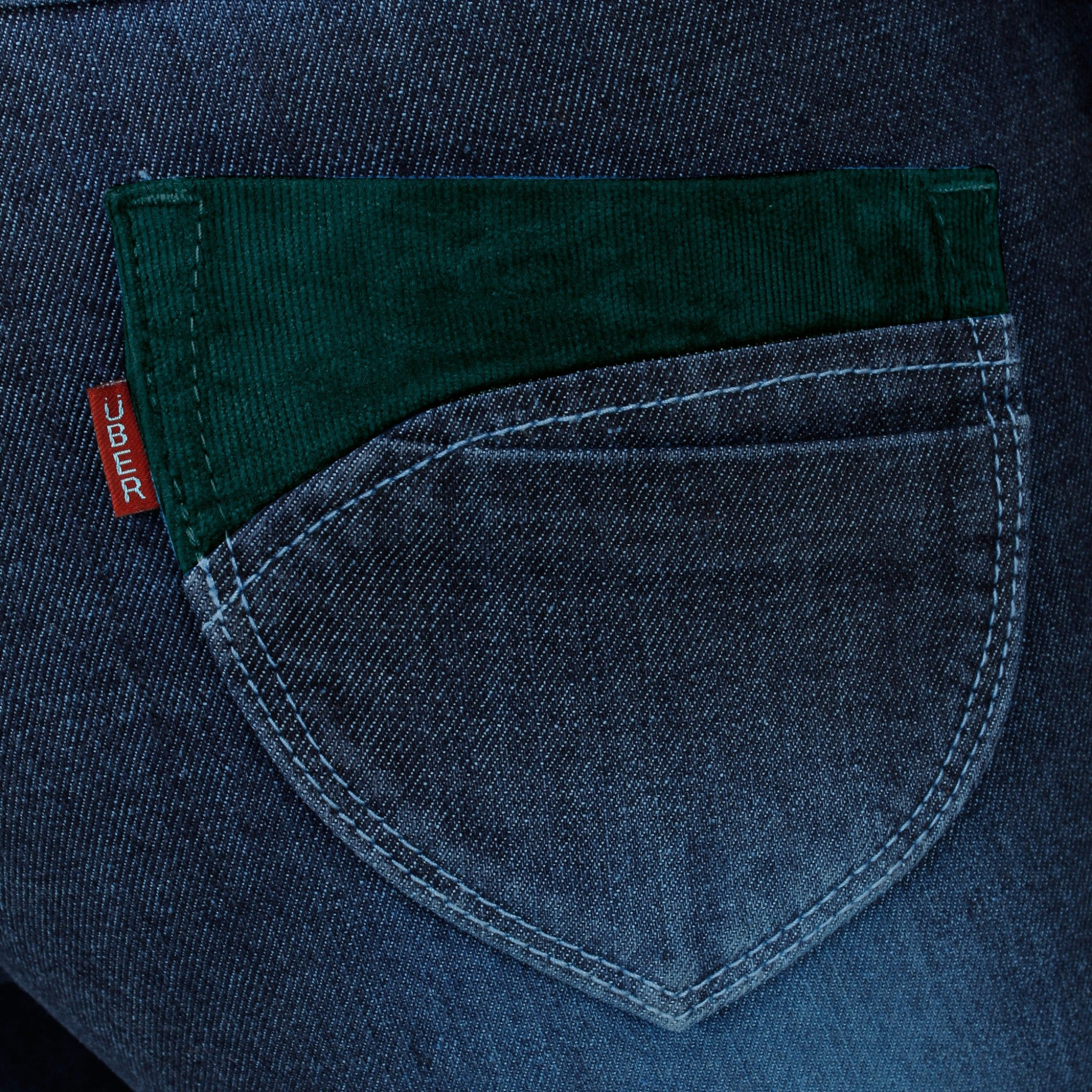 Midnight Blue Denim Capri back side pocket