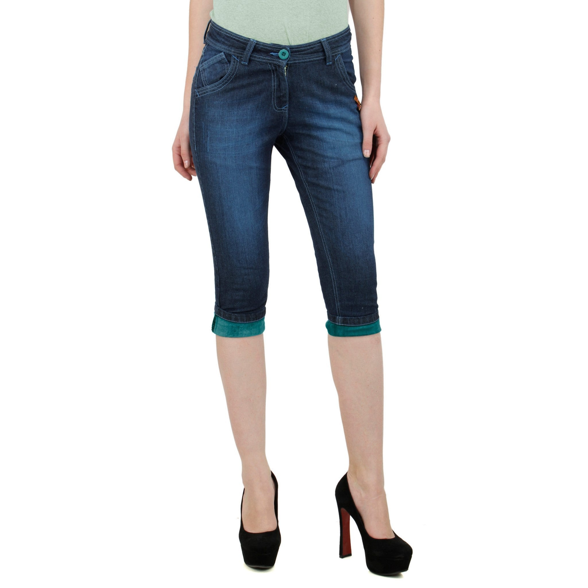 Midnight Blue Denim Capri front view